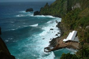 The sole landing point on Pitcairn Island.Things to do on Pitcairn. Photo / Supplied