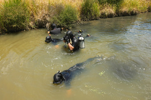 Police divers searching a stream in Long Bay in December. Photo / Chris Gorman