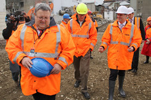 Canterbury Earthquake Recovery Minister Gerry Brownlee, CERA Chief Executive Roger Sutton and Prime Minister John Key on a tour of the Christchurch Red Zone. Photo / Supplied