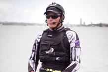 Skipper Dean Barker at the helm. Photo / Natalie Slade