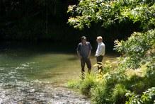 Rotorua MP Todd McClay (right) and Rotorua-Taupo Federated Farmers provincial president Neil Heather on the banks of the Ngongotaha Stream. Photo / Alan Gibson