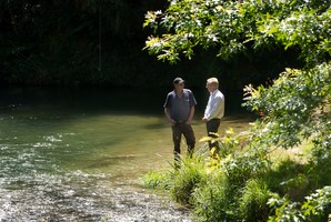 Rotorua MP Todd McClay (right) and Rotorua-Taupo Federated Farmers provincial president Neil Heather on the banks of the Ngongotaha Stream. Photo / Alan Gibson