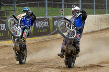 New Zealand speedway champion Jason Bunyan (also inset) and 2012 world champ Chris Holder in action. Picture / Brett Phibbs