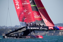 Team New Zealand are just one of three teams challenging for the next America's Cup. Cup organisers are struggling to secure private funding. Photo / Greg Bowker