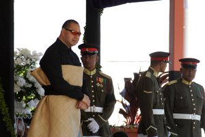 King Tupou VI (left), the King of Tonga, touched down in NZ today.Photo / File