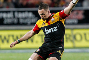 Chiefs first-five Aaron Cruden made his boot count against the Highlanders last season, converting nine of 10 penalty attempts. Photo / Christine Cornege