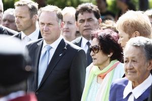 Prime Minister John Keyand kuia Titewhai Harawira at Te Tii marae. Photo / HBT