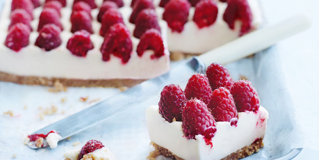 Raspberry and ginger cheesecake slice. Photo / Donna Hay Magazine