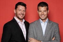My Kitchen Rules hosts Manu Feildel and Pete Evans. Photo / Supplied