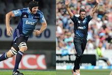 Blues captain Ali Williams (left) and Black Caps bowler James Franklin.