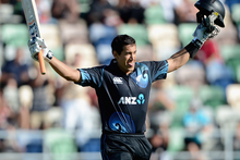 Ross Taylor of New Zealand celebrates reaching his century during the second match of the international Twenty20 series between New Zealand and England. Photo / Getty Images.