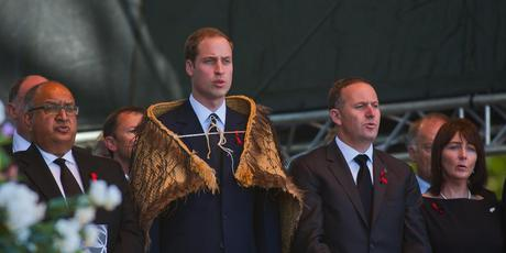 Prince William and John Key at the first memorial of the deadly February 22 quake. Photo / Rocky Batchelor