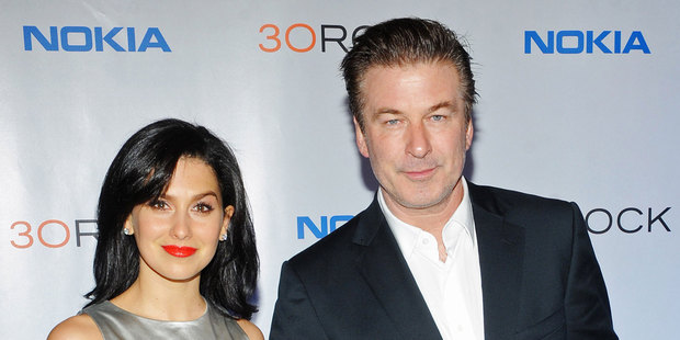 Alec Baldwin with his pregnant wife Hilaria Thomas. Photo/AP