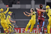 Ellyse Perry of Australia celebrates the wicket of Stafanie Taylor of West Indies. Photo / Getty Images