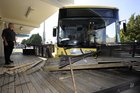 The bus crashed into the deck of the busy Tauranga cafe. Photo / Bay of Plenty Times