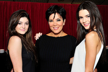 From left, Kylie Jenner, Kris Jenner and Kendall Jenner. Photo/AP