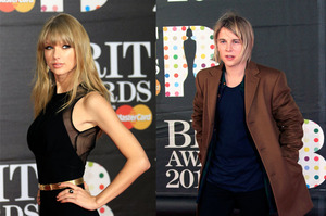 Taylor Swift and Tom Odell at the BRIT awards 2013. Composite photo / AP
