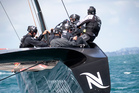 Team NZ tests out the new AC72 boat in the Hauraki Gulf. Photo / Natalie Slade