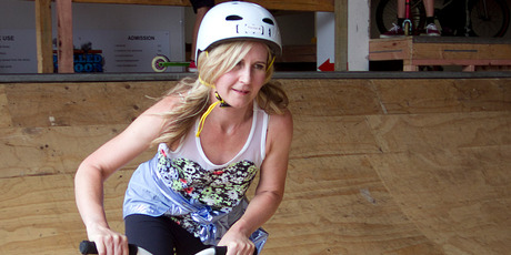 Rachel Grunwell tries her hand at extreme scootering at Dialled Indoor Skate Park. Photo / Natalie Slade