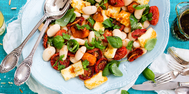 Roasted tomato, haloumi and white bean salad. Photo / NZH