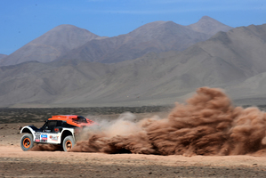 Guerlain Chicherit and co-driver Jean-Pierre Garcin during the 2013 Dakar Rally. Photo / Getty Images