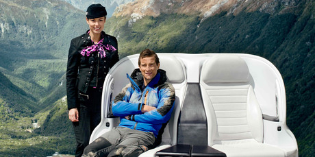 Bear Grylls has fronted the new safety ad for Air New Zealand. Photo / Supplied
