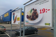 Advertising for Ikea meat balls at the parking area at an Ikea store in Malmo, Sweden. Photo / AP
