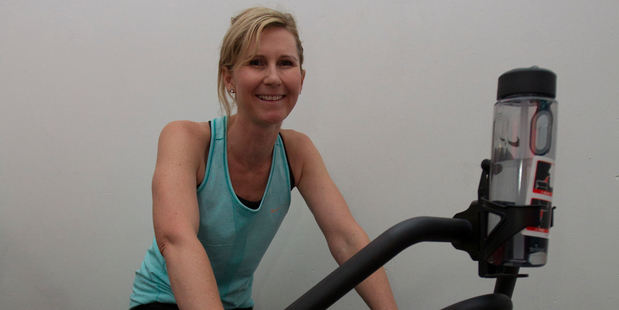 Rachel Grunwell tries the Top Ride spin class in the vault at Configure Express gym. Photo / Kellie Blizard