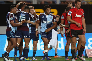 The Blues celebrate a try scored by Frank Halai during the round 3 Super Rugby match between the Blues and the Crusaders. Photo / Getty Images.