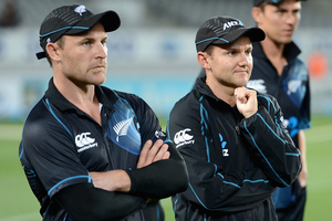 New Zealand captain Brendon McCullum and coach Mike Hesson. Photo / Getty Images.