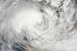 A NASA satellite captured image of Cyclone Rusty closing in on the northwestern coast of Western Australia. Image / NASA/AFP