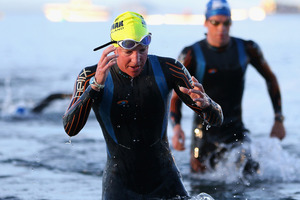 Gina Crawford of New Zealand leaves the water after the swim leg during the New Zealand Ironman. Photo / Getty Images.