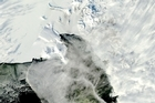 New images just released by researchers at the Polar Geospatial Centre show the Erebus glacier being calved away. 
