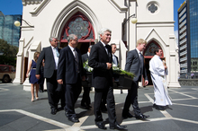 Pallbearers carry iconic broadcaster Phillip Leishman at his funeral at St Patrick's Cathedral, Auckland. Photo / Richard Robinson