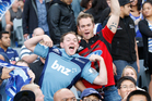Fans at the Blues versus Crusaders match at Eden Park were on very candid camera. Photo / Richard Robinson 
