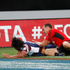 Blues Steven Luatua scores a try against the Crusaders in their Super Rugby match at Eden Park, Auckland.  Photo / Richard Robinson.