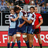 Blues Steven Luatua celebrates a try against the Crusaders. Israel Dagg of the Crusaders is in the background. Photo / Richard Robinson
