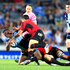 Blues Charles Piutau is tackled by the Crusaders in their Super Rugby match at Eden Park Auckland. Photo / Richard Robinson.