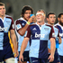 The Blues celebrate winning their Super Rugby match against the Crusaders at Eden Park Auckland. Photo / Richard Robinson.