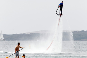Flyboarding display at Takapuna Beach. Photo / Michael Craig