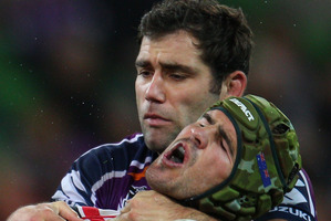 Even all-round great guys like Storm captain Cameron Smith should be penalised for illegal tackles. Photo / Getty Images