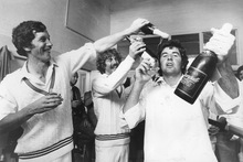 From left, Stephen Boock, John Wright and John Parker celebrate New Zealand's first test win over England. Photo / NZ Herald