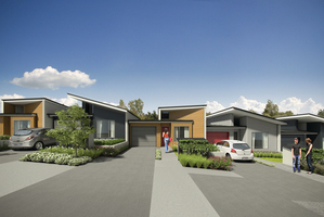 Artist impression of the first batch of affordable homes to be built at Hobsonville Point. Photo / Supplied