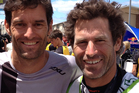 Formula One driver Mark Webber and multisport athlete Richard Ussher are good mates.