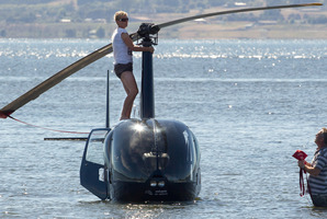 A helicopter made an emergency landing in Lake Rotorua.Photo / Daily Post, Stephen Parker