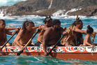 Waka paddlers on the way to meet wealthy overseas visitors, customers of Ahipara Luxury Travel. Photo / Supplied