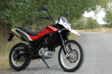 The Husqvarna TR650 Terra's enduro-style front deflects wind nicely, the dirtable riding position is cruiser-comfy. Photo / Jacqui Madelin 