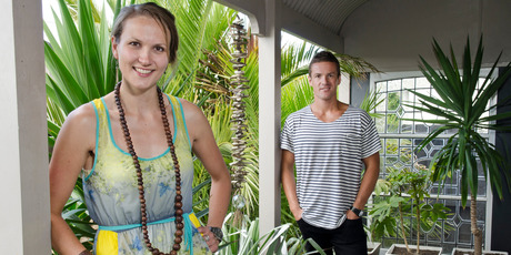 Libby Crawford and her brother Ben Crawford, winners of 'The Block' reality show, do some renovation work around the house. Photo / David Alexander