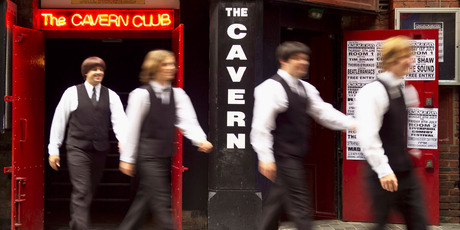 Beatles tribute band outside The Cavern Club, Liverpool. Photo / Supplied