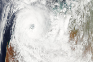A satellite image shows Cyclone Rusty over the coast of Western Australia. Photo / Nasa